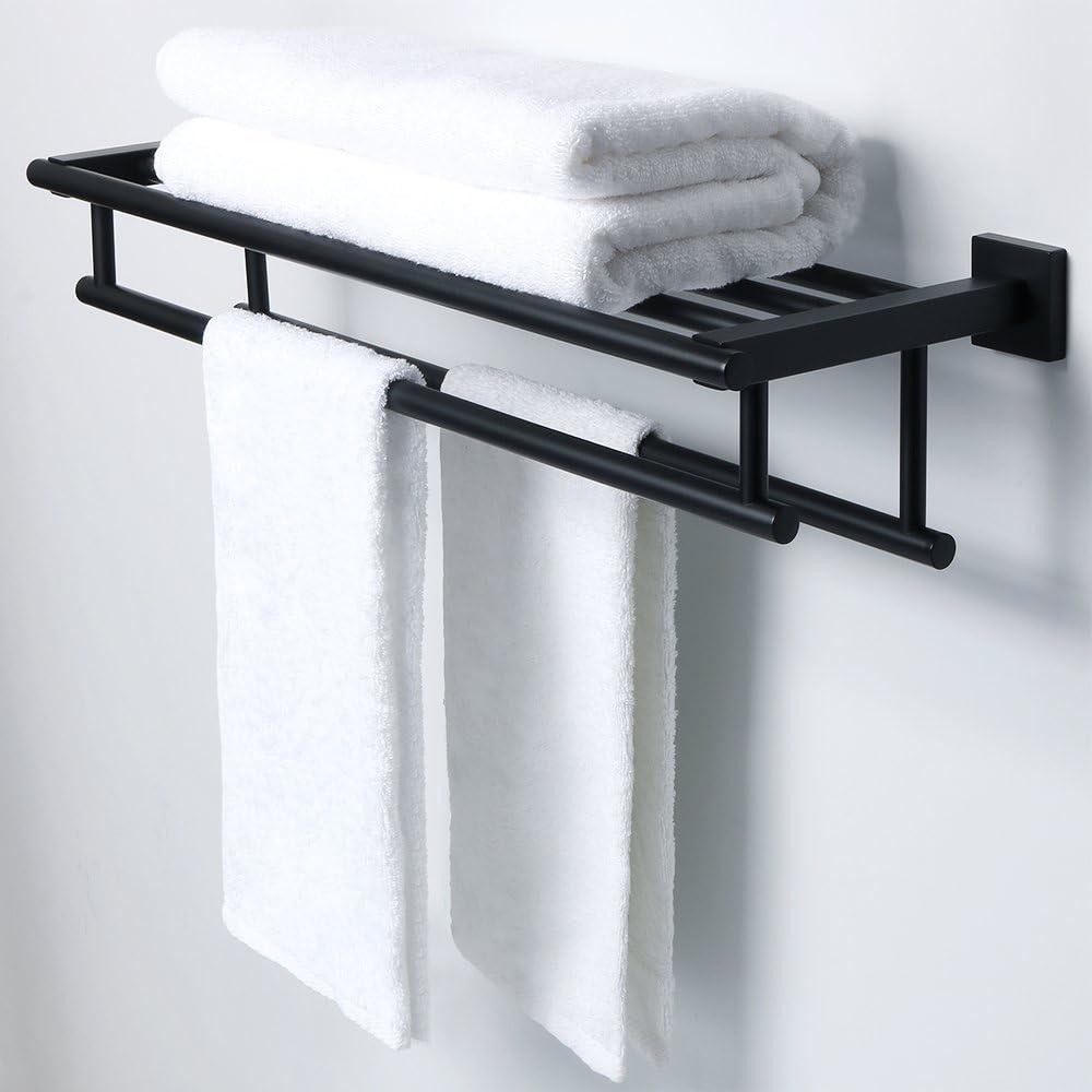 Sayayo EGY9800 /Étag/ère de salle de bain en verre avec double porte-serviettes mural en acier inoxydable SUS 304 Finition bross/ée 61 cm