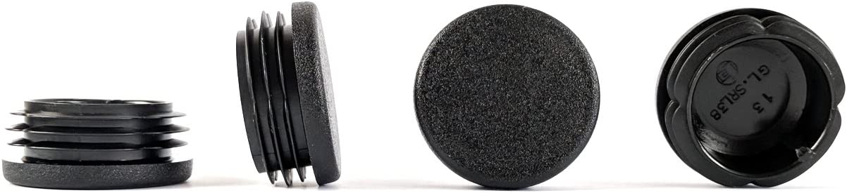 Pack of 8, See Second Image for Dimensions . 38mm Diameter Round Ribbed Black Plastic Insert Plugs end caps Made in Germany