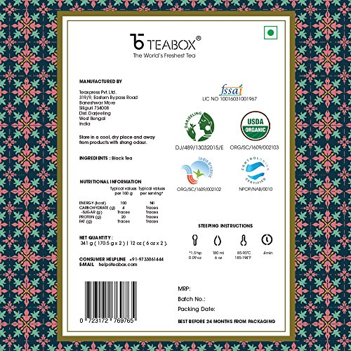 Teabox USDA Organic Himalayan Darjeeling Black Loose Leaf Tea 12 Oz. (170 Cups) | Fresh Whole Leaf Tea (2 Free Exotic Samples) |100% Natural Ingredients: Basil, Fennel, Orange | Sourced from India by Teabox (Image #4)