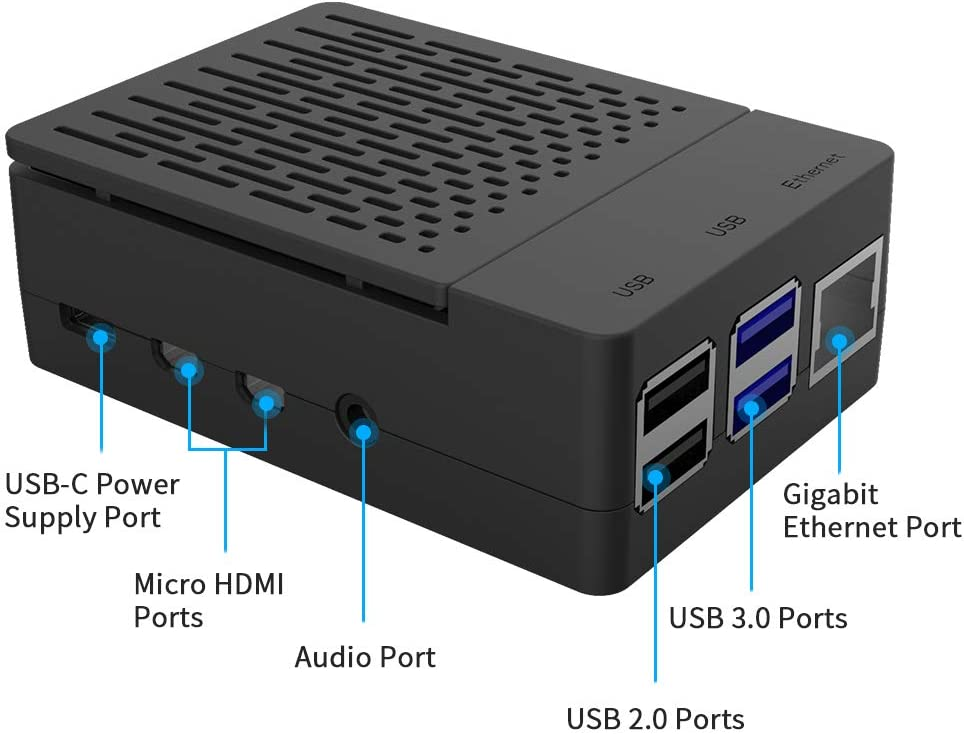 Raspberry Pi 4B Case with Fan 40X40X10mm and 4pcs Heatsinks for Raspberry Pi 4 Model B GeeekPi Raspberry Pi 4 Model B Case with 5V 3A US Power Supply