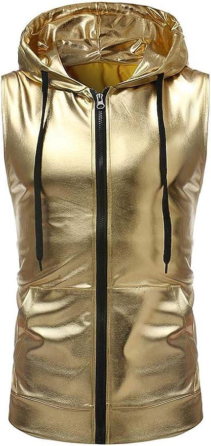 keephen Camisa Dorada de Plata Metalizada para Hombre Estilo Club Nocturno Sudadera con Capucha Slim Fit Disco Dance Tops: Amazon.es: Ropa y accesorios