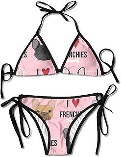Zcfhike Women's Bikini Set Swimming Costumes for I Love French Bulldogs Flower Print