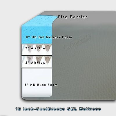 DynastyMattress Cool Breeze 12-Inch Gel Memory Foam Mattress