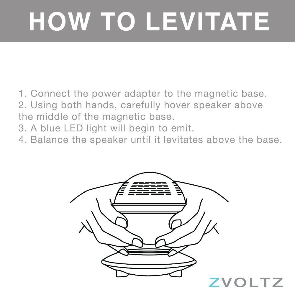 Levitating Bluetooth Speaker, ZVOLTZ Portable Floating Wireless Speaker with Bluetooth 4.0, 360 Degree Rotation, Built-in Microphone, One Touch Control for Bluetooth Connected Devices - Matte Black by ZVOLTZ (Image #5)