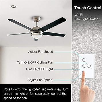 Yu2d - Interruptor de luz inteligente con ventilador WiFi, interruptor de lámpara para ventilador de techo en pared: Amazon.es: Bricolaje y herramientas