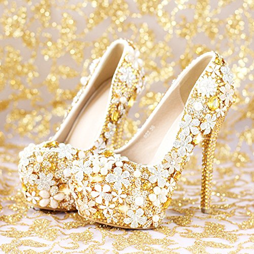 Waterproof Dress Shoes Wedding Prom Flower Crystal Women'S Bride Heel Shoes Super Shoes VIVIOO Sandals Heel 6 Golden AqWT7AR4