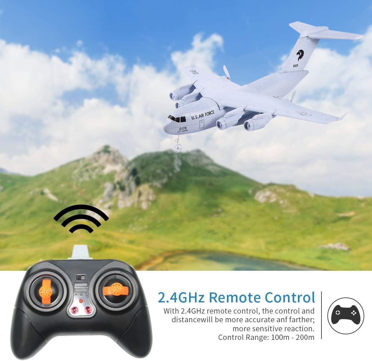 Makerfire RC Aereo C-17 Trasporto EPP Aereo Fai da Te 2 canali 2.4 GHz Telecomando 3 Assi giroscopio Giocattolo Aereo RTF