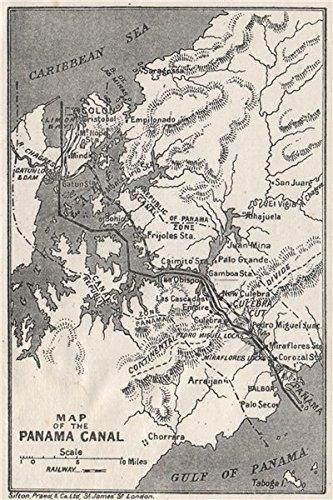 Amazon.com: PANAMA CANAL. Vintage map. Railway. Shows canal zone ...