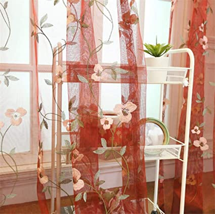 ETRY Red Floral Embroidered Sheer Curtains For Living Room Rod Pocket Retro Voile Drapes For Living Room 52 X 84 Inch 1 Panel