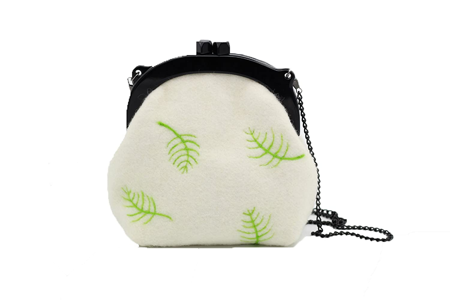 Ysting Felted Wool Leaves Clutch, Hand Felted Purse, Wool Lined Clutch, Fall Winter Purse
