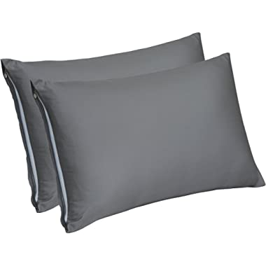 Utopia Bedding Zippered Bamboo Pillow Cases - Pack of 2 - (King, Grey) - 300 Thread Count Pillow Cover - 100% Natural Pillow Protector - (20 by 40 inches) - Bamboo Sateen Pillow Encasement