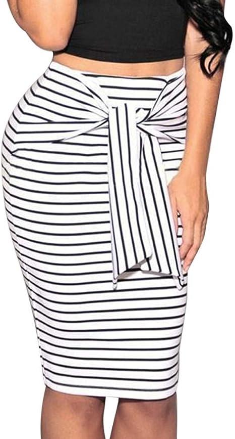 SWOVQ Falda Lápiz Faldas Mujer Niña Mujeres Striped Short Lápiz ...