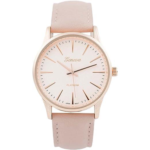 Rosemarie colecciones mujeres grandes de la cara redonda banda de piel vegana Fashion reloj: Amazon.es: Relojes