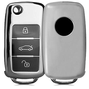 kwmobile Funda para Mando de VW Skoda Seat - Carcasa con Botones para Llave del Coche Llave de 3 Botones para Coche VW Skoda Seat - [Plateado ...