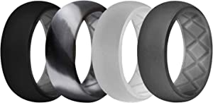 DSZ Rubber Wedding Bands for Men – Breathable Silicone Wedding Bands with Groove for Protection from Extreme Condition - Pack of 7 & 4 Silicone Rings – 8.7 mm Wide Silicone Rings for Men