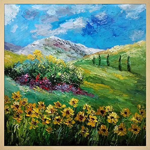 overstockArt ArtistBe Sunflowers 7741 by Pol Ledent Framed Hand Painted Oil on canvas with Studio Blonde Wood Frame
