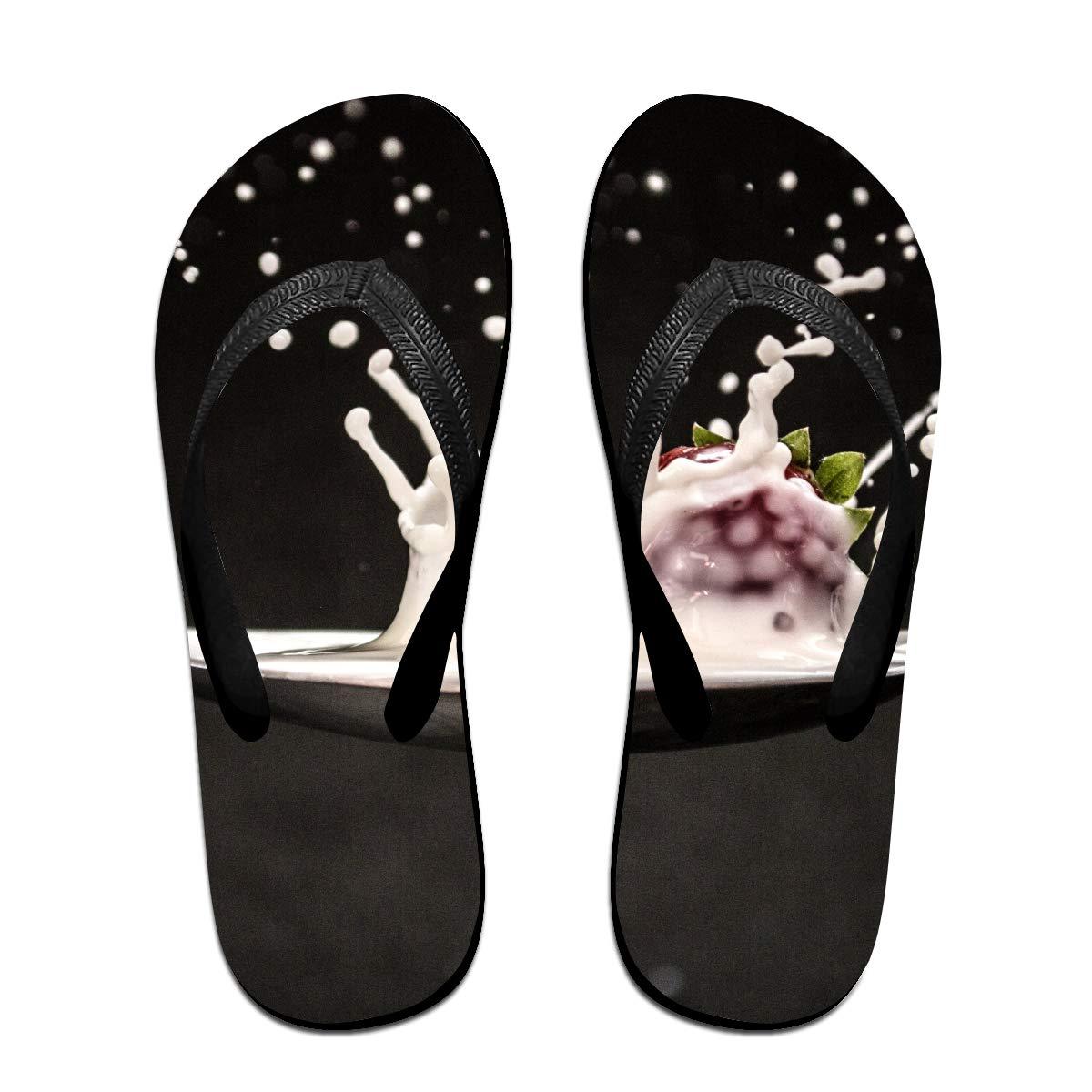 Couple Slipper Strawberry Yogurt Splash Print Flip Flops Unisex Chic Sandals Rubber Non-Slip Spa Thong Slippers