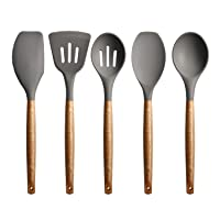 Miusco Non-Stick Silicone Cooking Utensils Set with Natural Acacia Hard Wood Handle, 5 Piece, Grey, High Heat Resistant