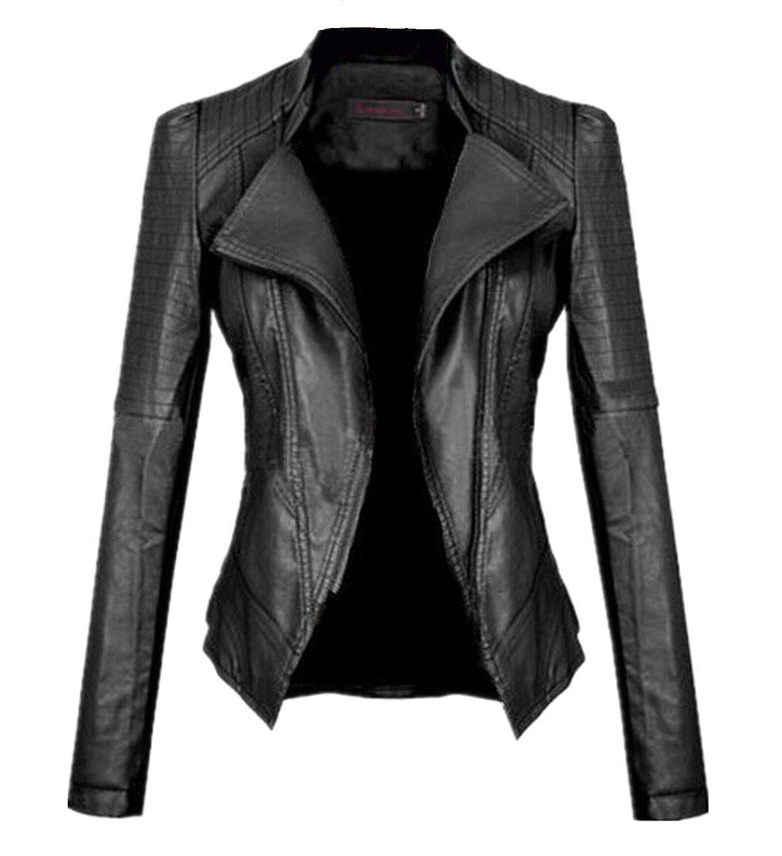 Allonly Women Moto Biker Faux Leather Jacket Leisure PU Coat