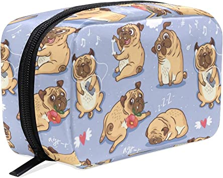 ZOEO Makeup Pouch Funny Pugs Puppy Blue Cartoon Mini Makeup Bag Organizer Travel Zip Toiletry Bag Small Cosmetic Train Case Beauty Bag for Teens Girls Women