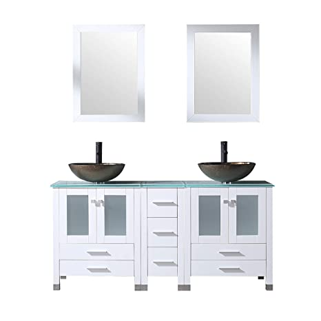 Sliverylake White 60 Inch Bathroom Vanity Double Sink Double Vanity With Countertop And Sink 1001