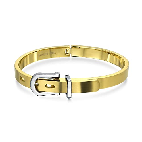 a25e2ca3ed6d8 Amazon.com: Gold Plated Stainless Steel Buckle Bangle Bracelet: Jewelry