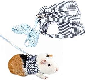 UUZIYOU Small Pet Guinea Pig Rabbit Harness and Leash Cotton Stripe Chest Strap Vest for Animals Guinea Pig Chinchilla Rabbit Rat Squirrel Hedgehog Ferret Outdoor Walking Clothes Accessory