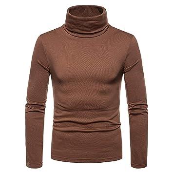 Jersey de manga larga de hombre cálido Sudadera otoño invierno de hombre Color puro Cuello alto ...