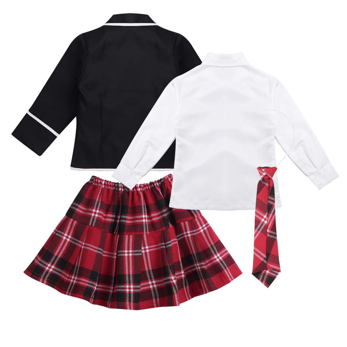 ACSUSS Kids Girls Autumn Winter School Uniforms Outfits White Button Down Shirt with Tie Plaid Mini Skirt Jacket Set