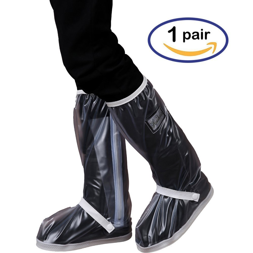 Holyami Waterproof Rain Boots Shoes Covers for Women Men-Black Anti Slip Lightweight Rain Snow Boots Cover with Reflective Strip-Travel Bike Motorcycle Boots Shoe Cover Rain Suit/Gear(1 Pair)