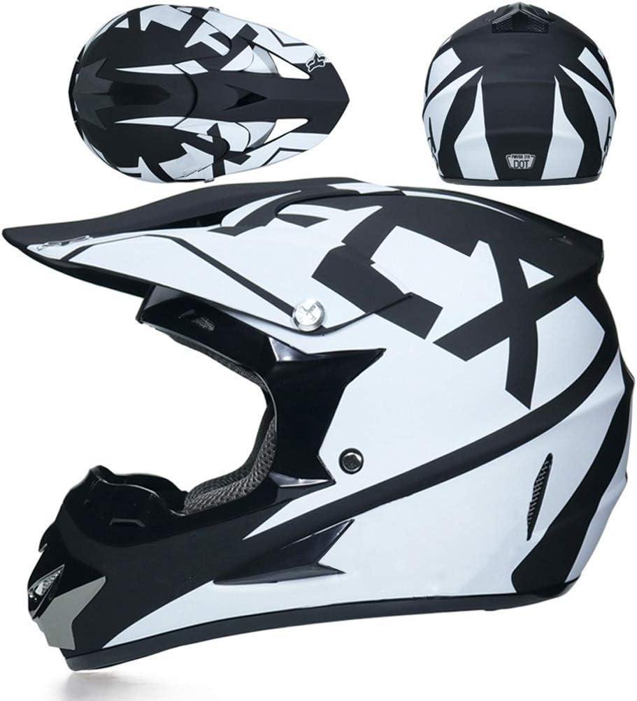 Set Casco Adulto per Motocross con Occhiali Guanti Maschera Casco Rete Trend jewelryCasco Cross Bianco e Nero // 5 Pezzi Casco Integrale Moto Crash MTB ATV Fuoristrada