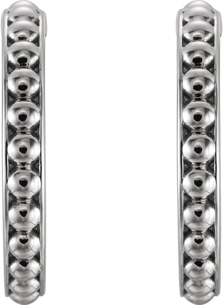 FB Jewels 925 Sterling Silver 20mm J-Hoop Beaded Earrings