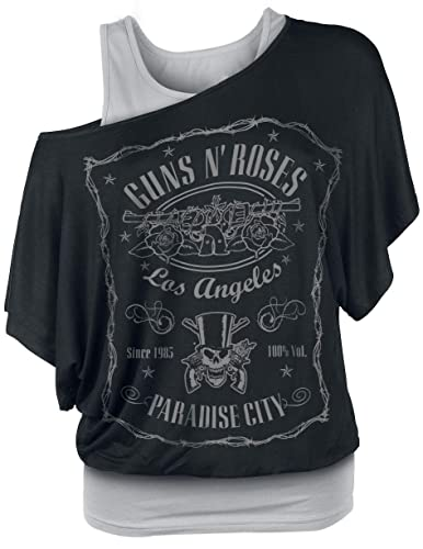 Guns N Roses Paradise City Label Camiseta Mujer Negro/Gris