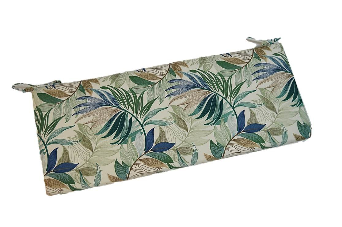 Resort Spa Home Decor Blue, Teal, Green, Tan Tropical Palm Leaf 2 Thick Foam Swing Bench Glider Cushion with Ties and Zipper – Choose Size 38 x 18