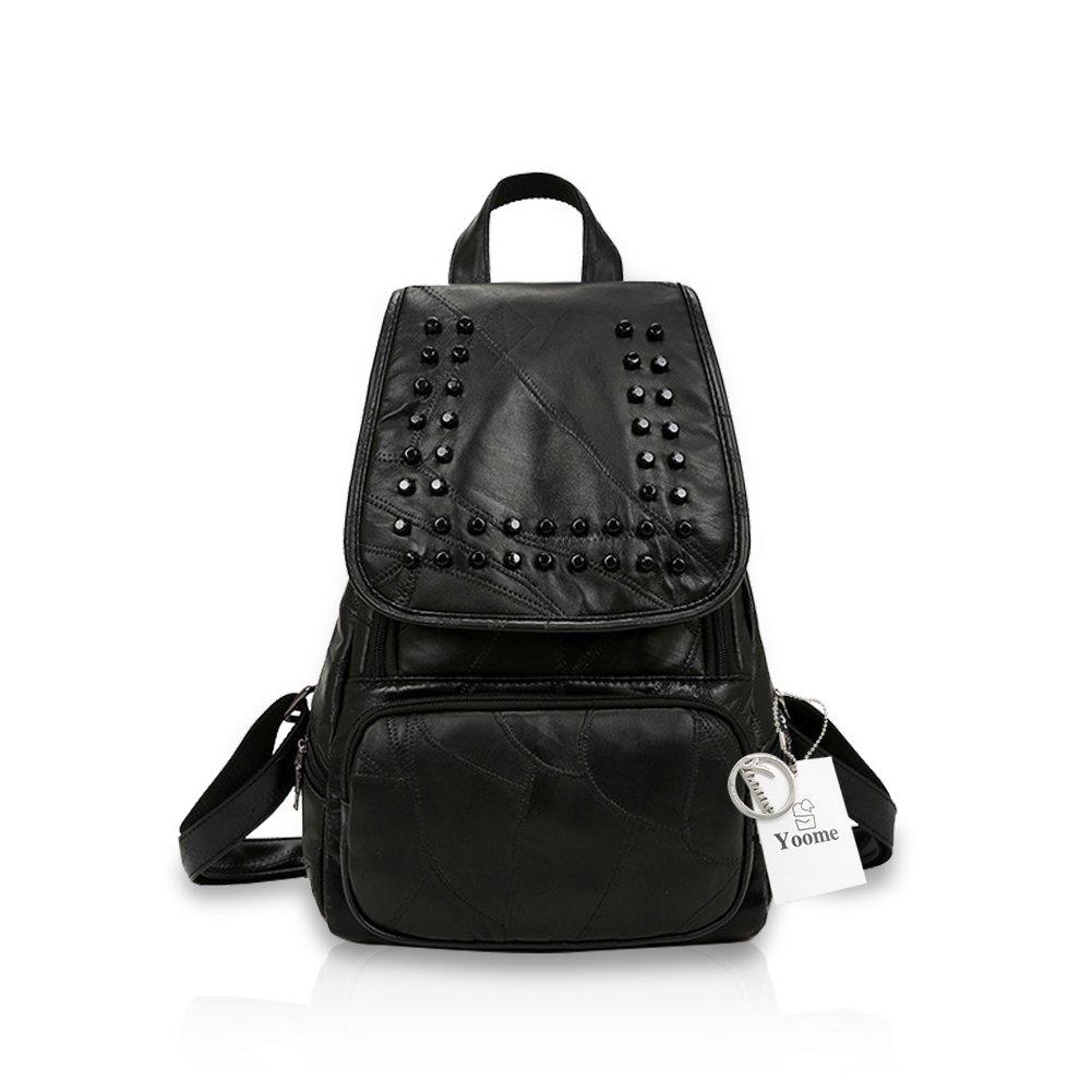 Yoome Black Rivet Studded Light Weight Backpack Ladies Tote Bag Shoulder Bag Black
