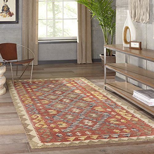 Momeni Rugs TANGITAN-7RED2030 Tangier Collection, 100% Wool Hand Tufted Tip Sheared Transitional Area Rug, 2' x 3', Red (Collection Kazak Rug)