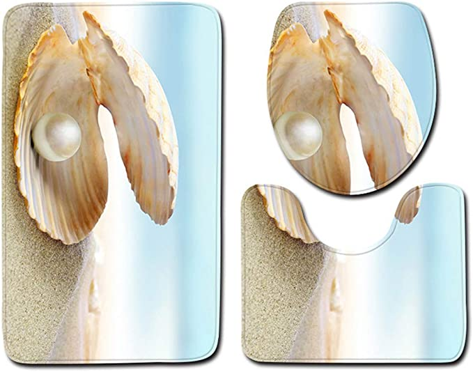 Juego de 3 Piezas Fibra de poli/éster 45/×75cm dise/ño de Conos en 3D Kentop Juego de Alfombrillas de ba/ño rectangulares Stil-1