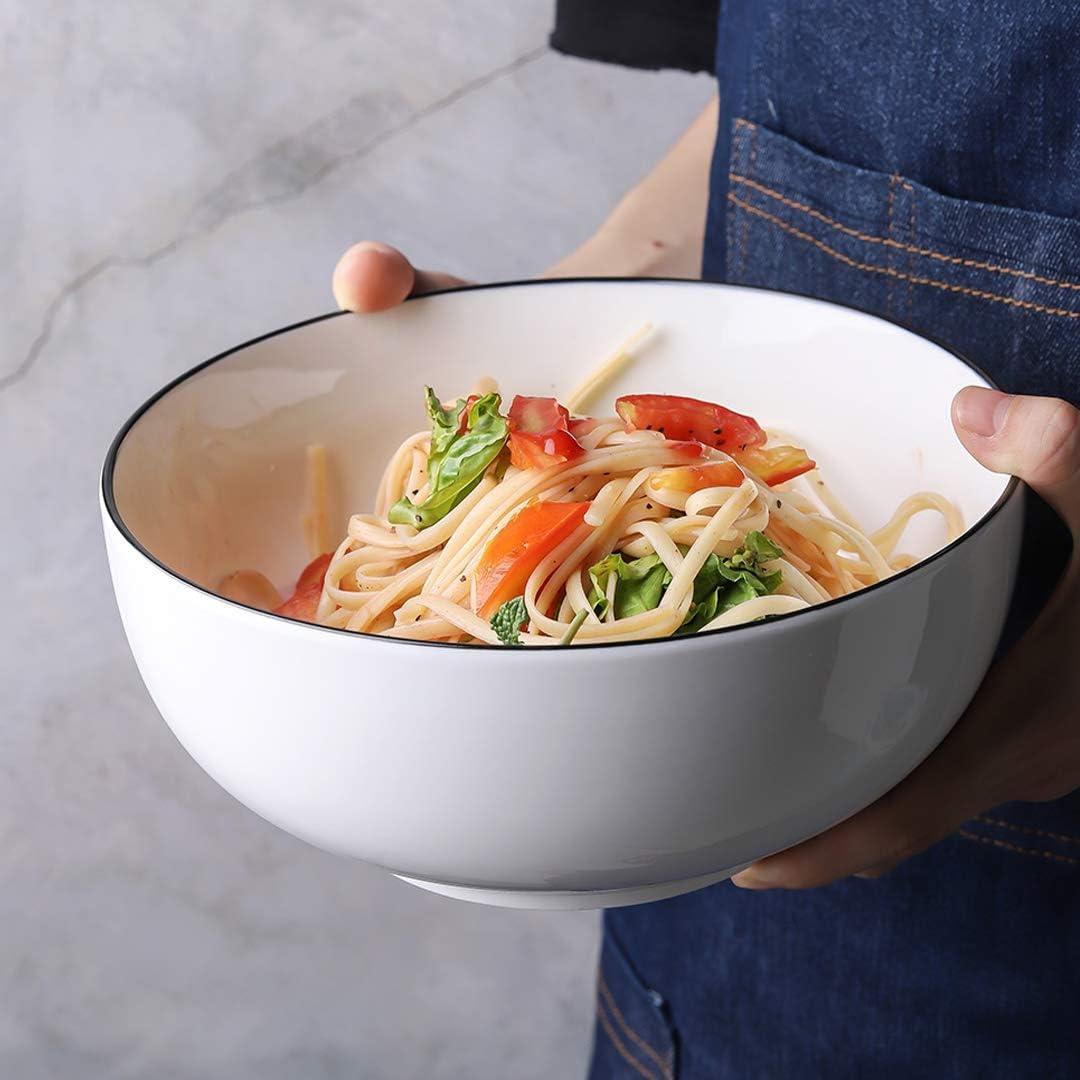 YOLIFE 52 Oz Large Porcelain Serving Bowls,Set of 4(Pasta Salad Bowls Set)