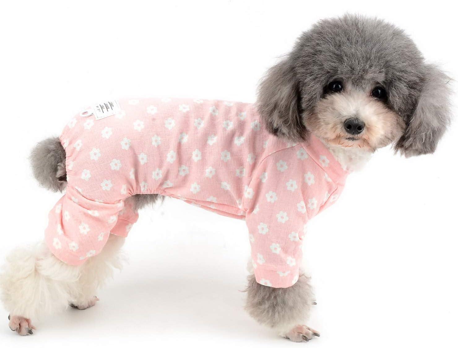Zunea Pijama para Perros Perros Gatos Cachorro Ropa de algodón con diseño de Margaritas y Flores, Suave Yorkshire Rompers para Todas Las Estaciones Rosa L