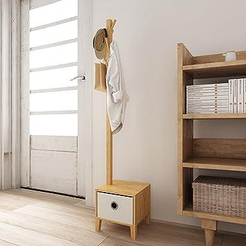 Kleiderständer Bambus Mit Aufbewahrungsbox Bodenaufhänger