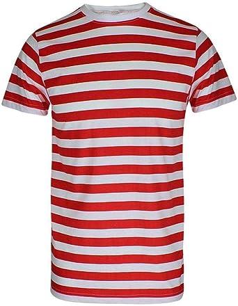 Camiseta de rayas para hombre, color rojo y negro y azul y negro: Amazon.es: Ropa y accesorios