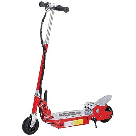 Homcom Patinete Eléctrico Scooter Plegable Rojo Patinete Eléctrico Scooter Plegable con Manillar y Tipo Monopatín con Freno y Caballete 120W Carga ...
