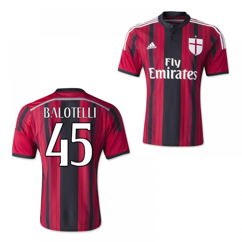 2014-15 AC Milan Home Shirt (Balotelli 45) Kids B077VMQBJHRed XL Boys 32-34\
