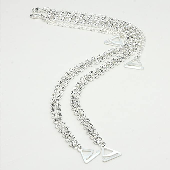530e072b59 Amazon.com  Aschic Women Crystal Bra Straps Sliver Double Row Rhinestone  Shoulder Strap Replacement for Brasserie Tube Tops  Clothing