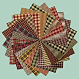 Arts & Crafts : 40 Rustic Christmas Charm Pack, 5 inch Precut Cotton Homespun Fabric Squares by Jubilee Creative Studio