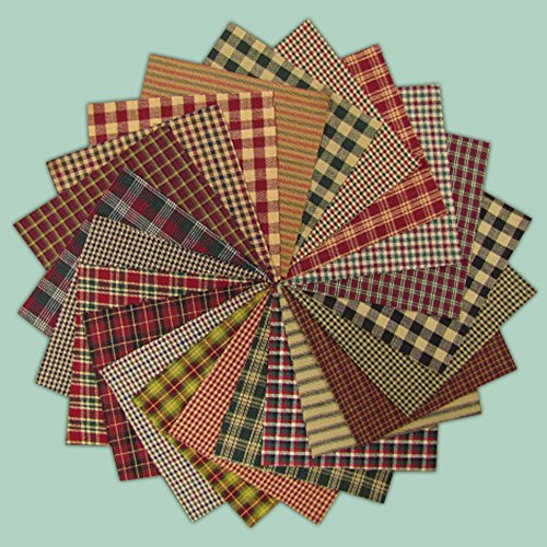 40 Rustic Christmas Charm Pack, 6 inch Precut Cotton Homespun Fabric Squares by Jubilee Creative Studio