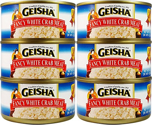 Fancy White Crab Meat, Wild Caught (Pack of 6), 6 oz Can - Geisha