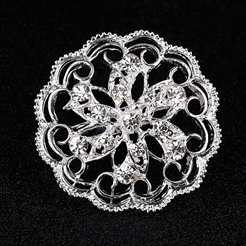 d65d53642 Amazon.com: Funnmart Silver Plated Brooch Small Round Flower Butterfly Rhinestone  Pins Brooches for Women Lapel Pin Jewelry Gift: Kitchen & Dining