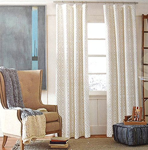 Tommy Hilfiger Geometric Diamond Lake Pair of Curtains 2 window panels, 50 by 96-inch Beige Tan Ivory White Grey Aztec Native American (Tommy Hilfiger Online)