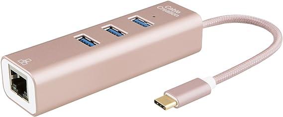 USB 3.1 Type C USB-C Multiple 3Port Hub with Gigabit Network Adapter for Macbook